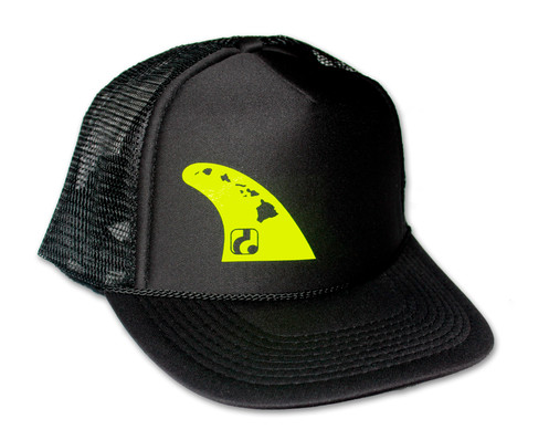 769a41d4c3b905 Fin - Black Trucker Hat (neon yellow logo shown, gold also available)