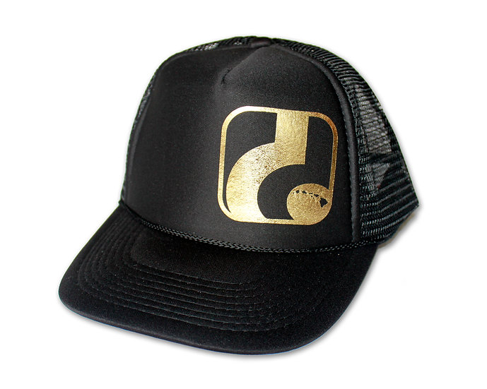 d Logo - Black Trucker Hat (gold logo shown, neon yellow also available)