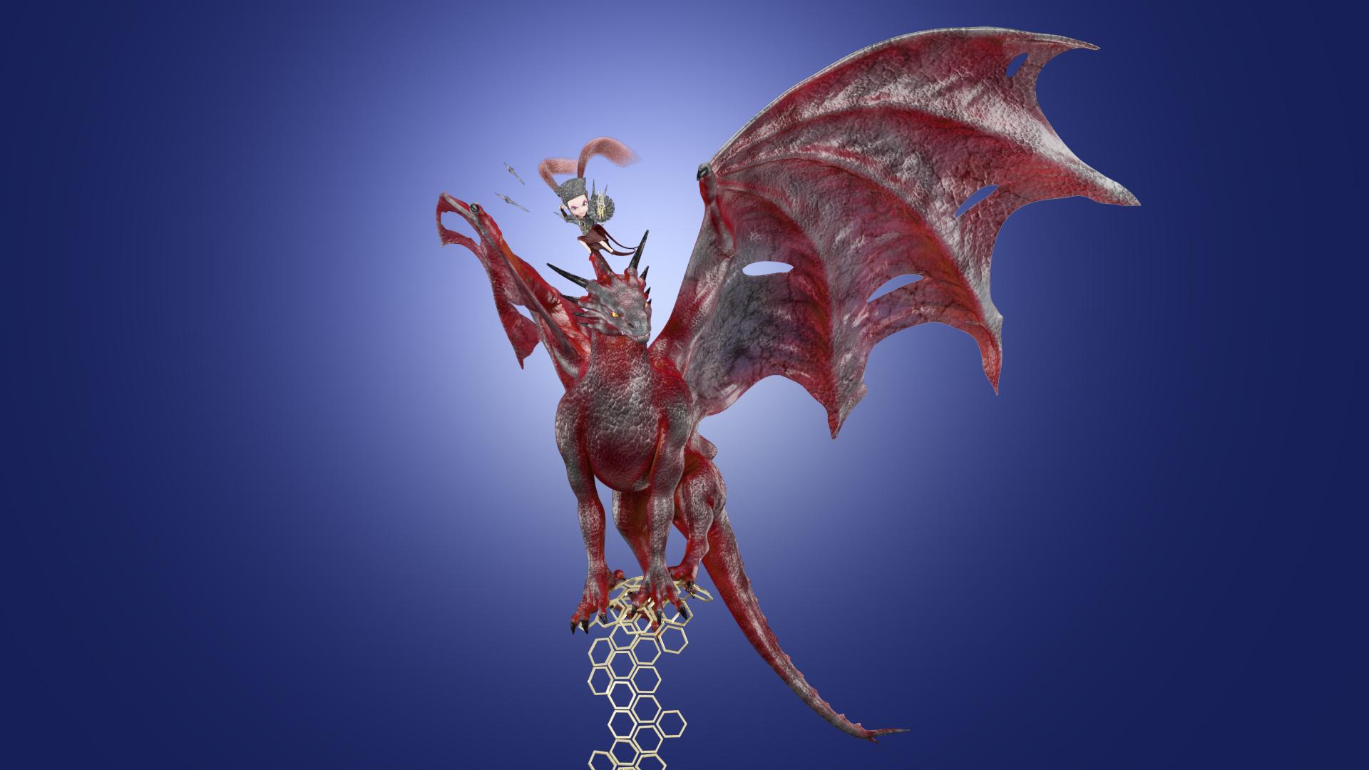 The Girl riding Dragon view 1