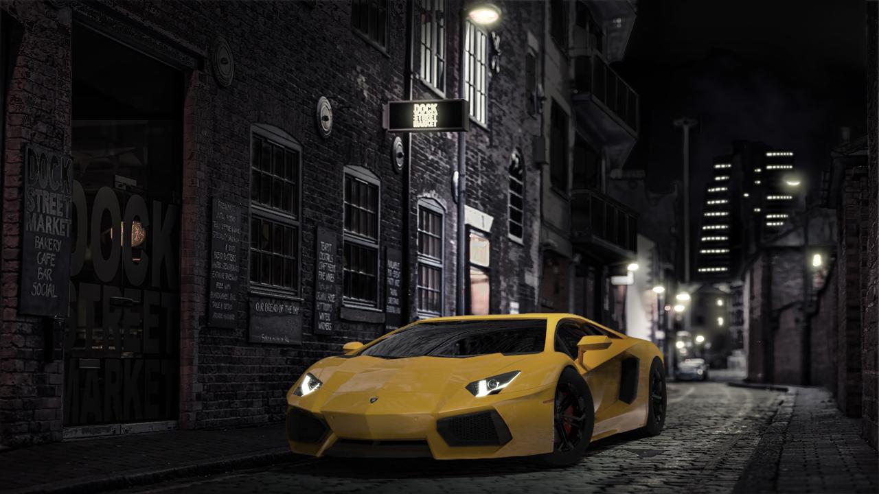 Lambo on the Street Night