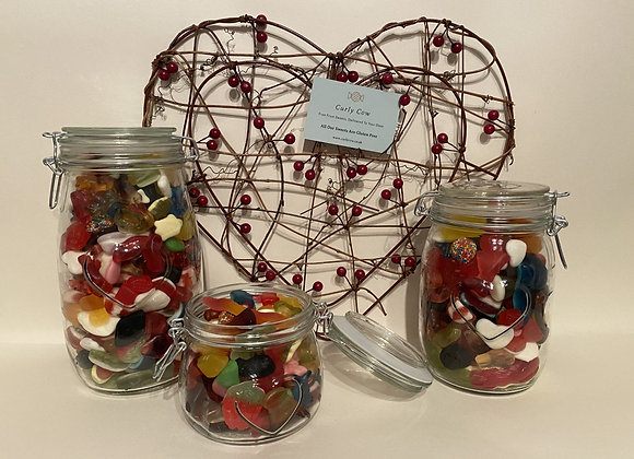 Gummy Mix in Heart Glass Jar from