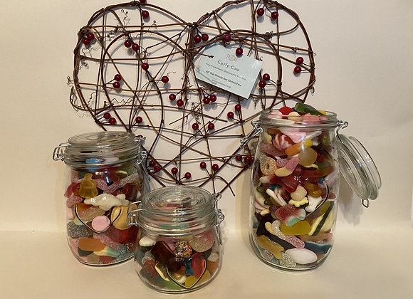 Anything Goes Mix in Heart Glass Jar from