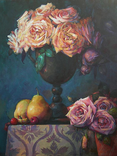 Still life with English roses and pears