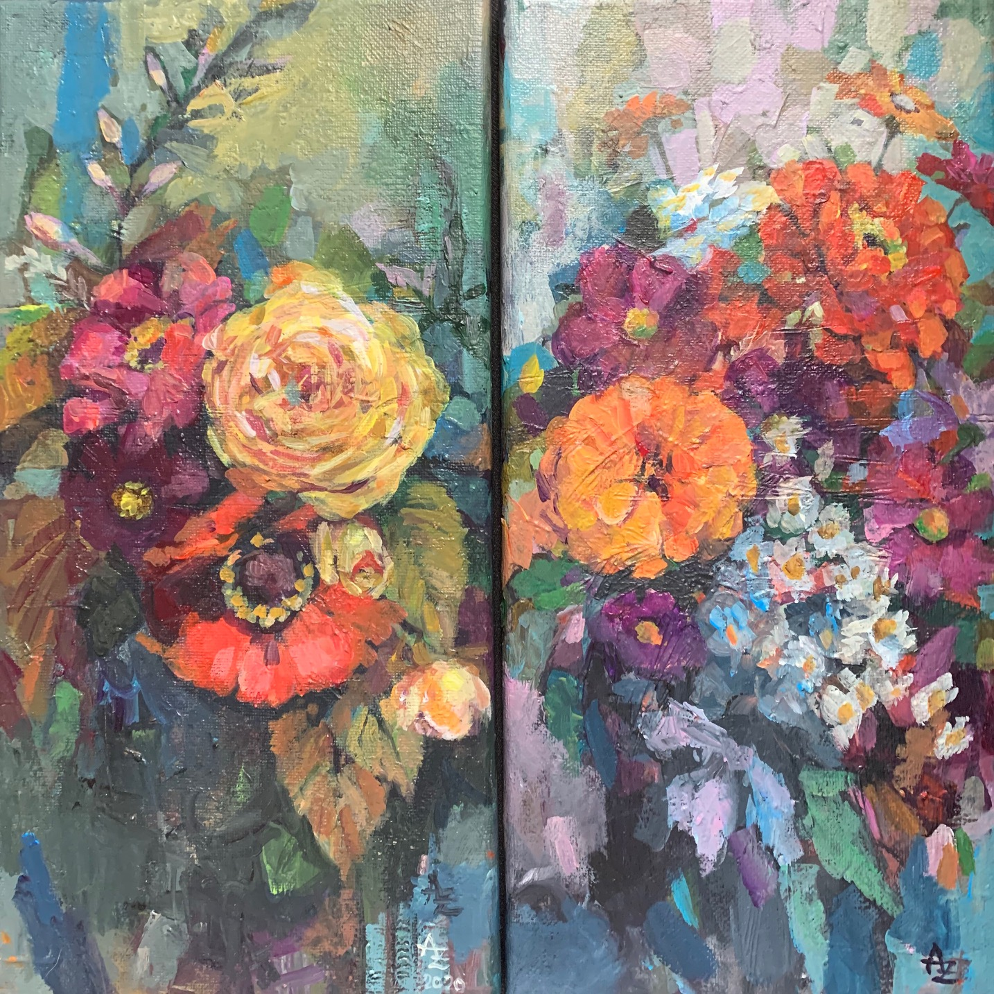 September blooms, set of 2 canvases