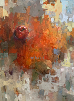 Abstract with red apple