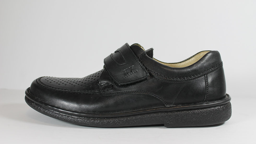 Walker Flex Leather Men's Velcro Shoes with Perforations