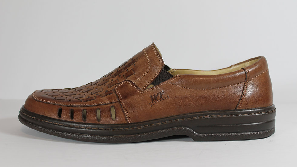 Walker Flex Leather Men's Slip-on Shoes with Perforations