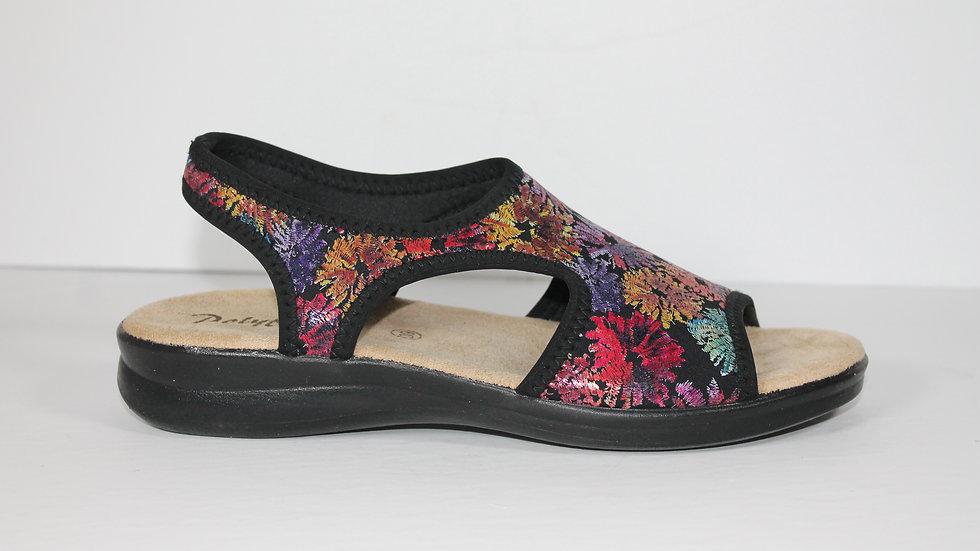 Polyflex Stretch Sandal with Flowers