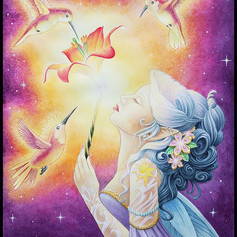 Triplets, faery, fairy, faerie, hummingbird, lily, day lily, spell, conjure, sharptattoos, wings, stars, watercolor