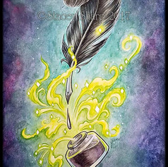 pen, feather, quill, well, ink, sharptattoos, watercolor, magic, penmanship, thought, novel, poem, words, wordsmith, writing, writer, sharptattoos