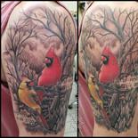 cardinal, birds, memorial, parents, in memoriam, in loving memory, trees, tattoo, sharptattoos