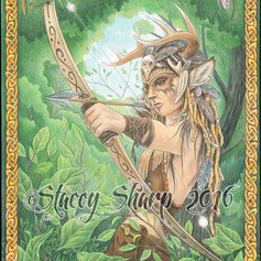 silent, hunter, horns, antlers, leather, bow, archer, archery, arrow, quiver, sharptattoos, skull, rat, feather, beads, claw, tooth, knotwork, banner, standard, wood, branch, tree, faun, changeling, colored pencil, watercolor, draw