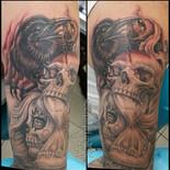 crow, skull, eye, dead, death, girl, face, hourglass, time, sharptattoos, tattoo, jawbone, sand, demon
