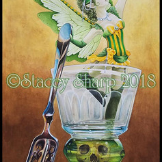 absinthe, watercolor, faery, fairy, faerie, spoon, glass, skull, wings, sugar, cube, tempt, alcohol, mixed drink, poets, artists, victorian, vision, hallucination, fantasy, imagine