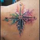 rainbow, watercolor, compass, tattoo, sharptattoos