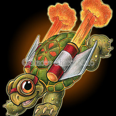 rocket, tortoise, turtle, fire, afterburner, shell, goggles, wings, fly, booster, sharptattoos, colored pencil, marker, digital