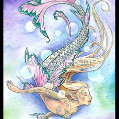 float, flow, mermaid, sharptattoos, scales, hair, tail, grace, mermaid, siren, water, ocean, pond, river, sea, myth, legend, magic, fish, woman