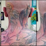 angel, devil, influence, head tattoo, whisper, secret,