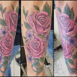 rose, violet, flowers, floral, sharptattoos, tattoo, ribbon