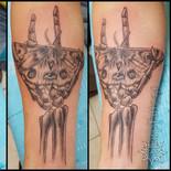 skeleton, hand, moth, sharptattoos, tattoo,