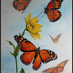 monarch, butterfly, acrylic, painting, flower, fly, flutter