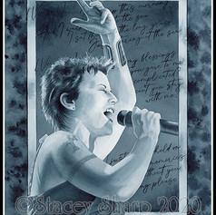 Dolores, Siren, dolores o'riordan, the cranberries, sing, singer, voice, ireland, irish, folk, irie, pixie, sharptattoos, watercolor, painting