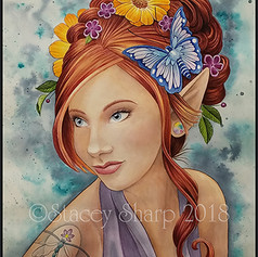 dragonfly, tattoo, sharptattoos, faery, elf, faerie, fairy, flowers, butterfly, hair, updo, sharptattoos, watercolor, painting