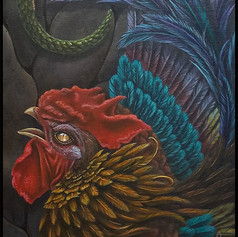 cockatrice, roman, mythology, stone, acrylic, sharptattoos,  deadly, rooster, snake, feather, fang, serpent, chicken, scale