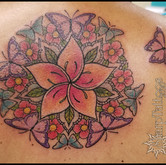 plumeria, butterfly, mandala, sharptattoos, tattoo