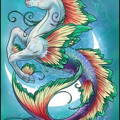Aqualuna, hippocampus, luna, moon, scales, tail, fish, horse, fins, hooves, water, ocean, sea, sharptattoos, tendrils, fantasy, fantasy creature, beast, digital, procreate