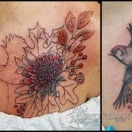 fall, coverup, bird, autumn, mum, chrysanthemum, leaves, leaf, oak, ash, maple, berry, sharptattoos