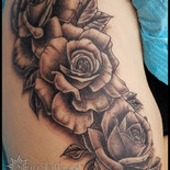 thigh, roses, flowers, floral, garden, leg, sharptattoos, tattoo,