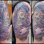 owl, bat, moon, clouds, night, nocturnal, stars, branch, tattoo