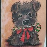 Cairn, Terrier, Kim Niles, candy cane, cute dog, puppy, bow, tattoo, sharptattoos