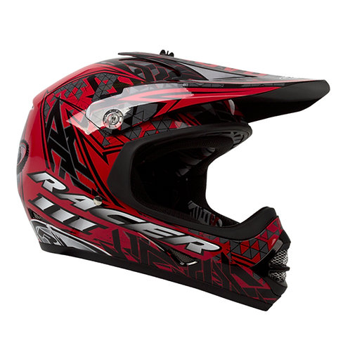 HELMET RACER 3 BLACK RED KIDS