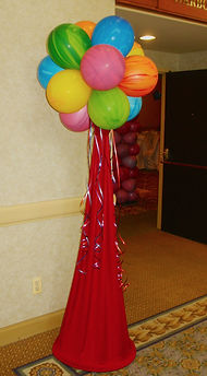 Fabric and Topiary Balloon Column