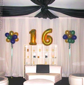 "Foil Balloon Numbers ""16"" and Large Topiaries"