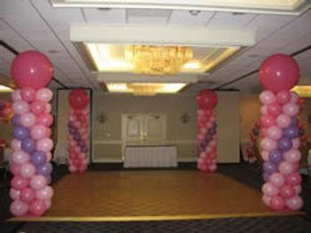 "Balloon Columns with 30"" Toppers"