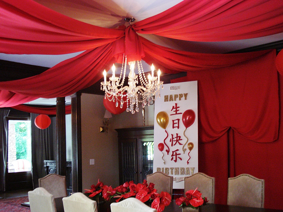 fabric draped ceiling custom sign - Event Decorations