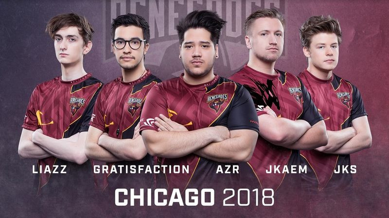 "Renegades latest lineup featuring Sean ""Gratisfaction"" Kaiwai and Jay ""Liazz"" Tregillgas (courtesy of Liquipedia/IEM)"