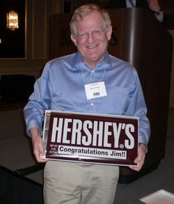 Jim plans to celebrate his award chocolate style