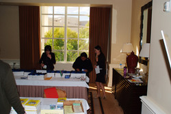 Volunteers hard at work at the Registration Desk
