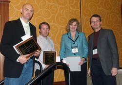 Park Prize winnters Peter Darke, Darren Dahl, and Kelly Main (along with Hans)
