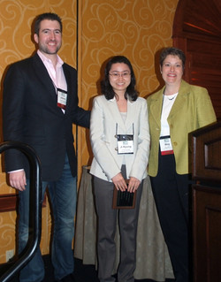 Ji Kyun Park with Meg and Adam receiving a Dissertation Proposal Honorable Mention