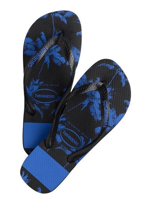 Mens Black & Blue Palm Tree Thongs
