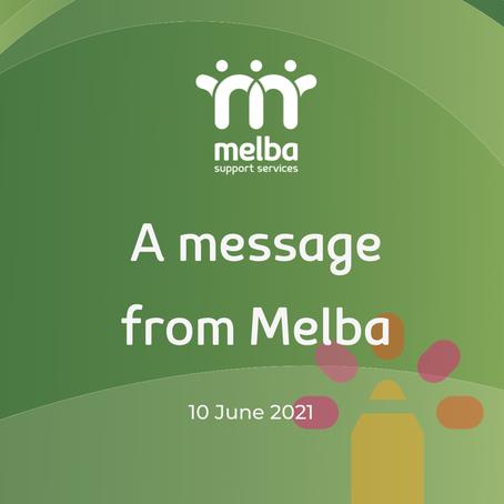 A message from Melba- 11 June 2021