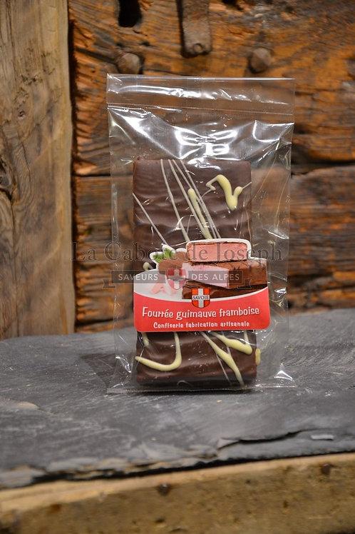 Chocolat fourré guimauve framboise