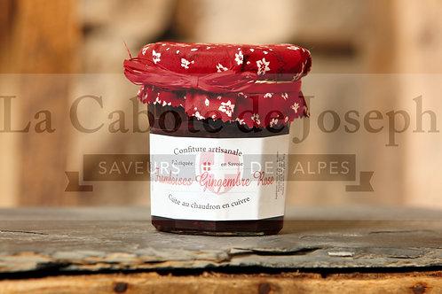 Confiture artisanale de  Framboise Gingembre Rose (375gr)
