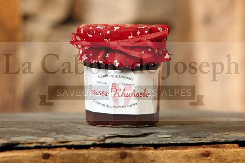 Confiture artisanale de fraise rhubarbe (375gr)