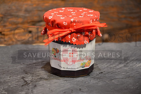 Confiture artisanale de framboise gingembre rose 375gr